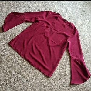 Maroon long flare sleeved shirt